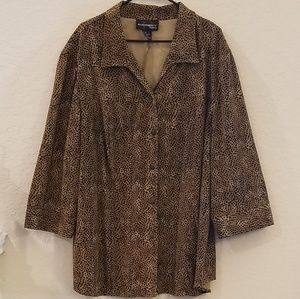 Animal Print Plus Size Jacket 3/4 Sleeves Size 3X